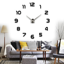 Hight Quality DIY Large Wall Clock 3D Sticker Metal Big Watches Home Decor Gift Black FG - Fashion Girl520 store