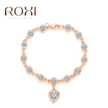 Delicate Roxi White Crystal Charm Heart Chain link Bracelets for women Christmas/birthday Gift bijoux bride jewelry pulseira(China (Mainland))