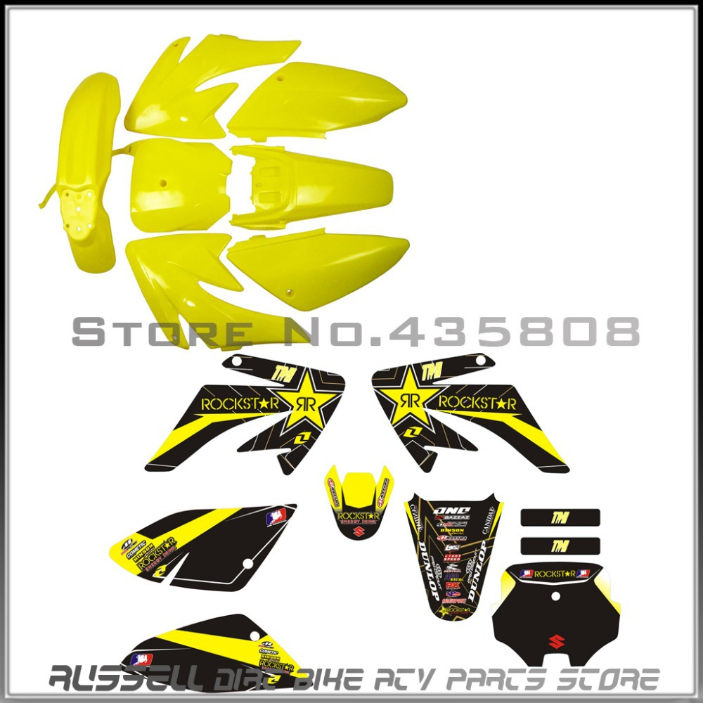 CRF70 plastic kits Honda 150cc CR pit bikes 3M graphics decals sticker yellow - Russell DIRT BIKE/ATV PARTS STORE store