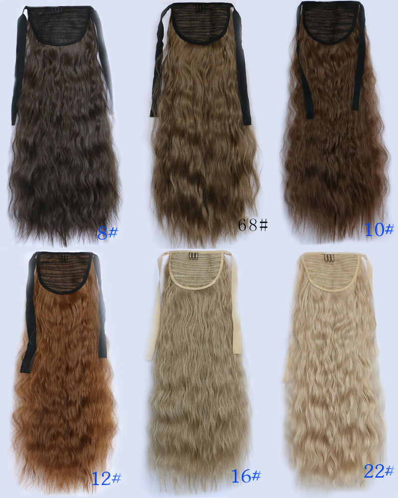 Young ladies popular long curly popcorn drawstring fluffy young ladies popular long curly popcorn drawstring fluffy ponytails synthetic soft fiber 22inch 90g medium ash brown in clip in hair extensions from health pmusecretfo Image collections