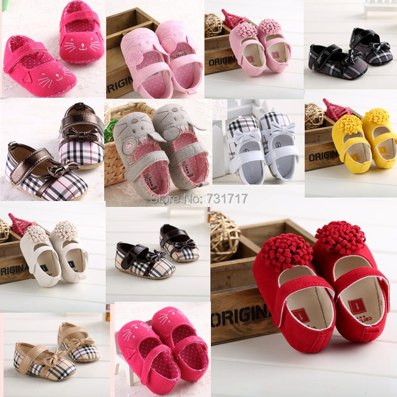 2015 New Fashion Lovely Soft Contton Bowknot Animal Prints Grid Infant Toddler First Walkers Casual Baby