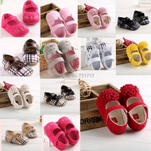 2015 New Fashion Lovely Soft Contton Bowknot Animal Prints Grid Infant Toddler First Walkers Casual Baby Shoes Size 0-18months