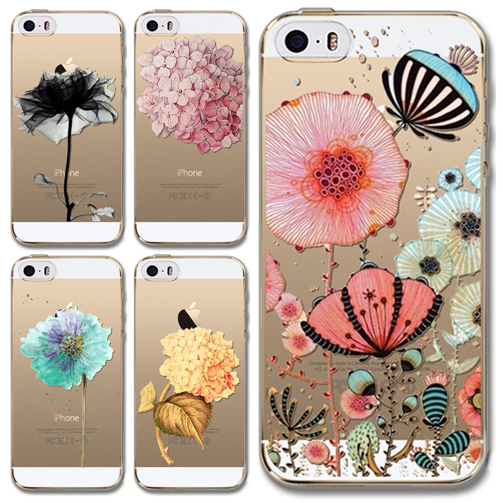 Soft phone cover For iPhone 6 Plus 6s plus 5.5inch Lovely Flowers Cartoons Ultra thin Transparent TPU mobile phone bags & cases(China (Mainland))