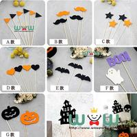 cheap 12pcs/lot Halloween felt Party Supplies pumpkin bat cake Cupcake Toppers Picks for Kid Birthday Party Decorations Supplies