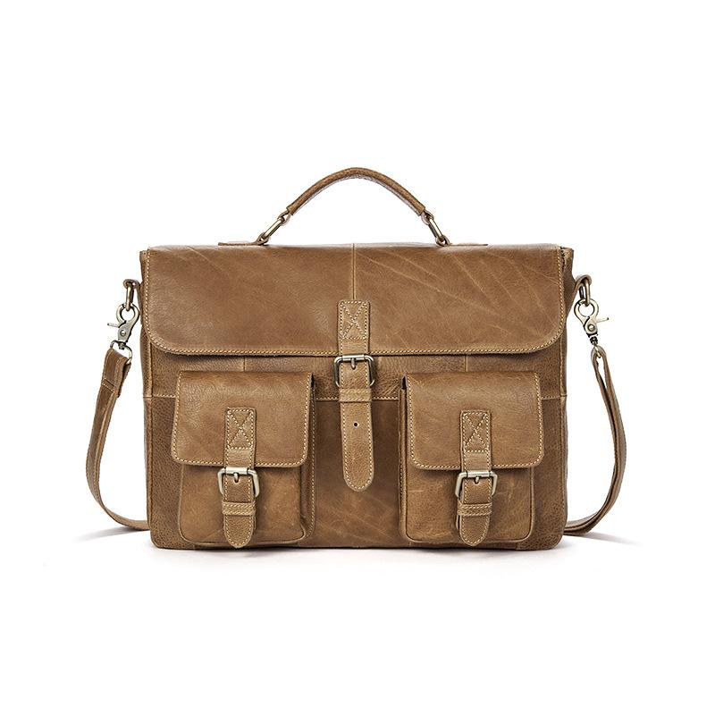 Men Genuine Cowhide Leather Vintage Briefcases Mens Messenger Bags Male Business Office Bag Lawyer Laptop El hombre de Blosas