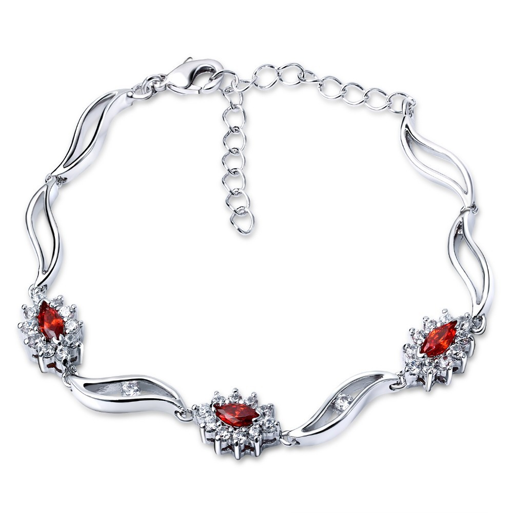 Women Secret Latest design Lead Free Shipping Bracelet for Women Deluxe Ruby Color Top Quality Cubic Zirconia Wedding Bracelets(China (Mainland))