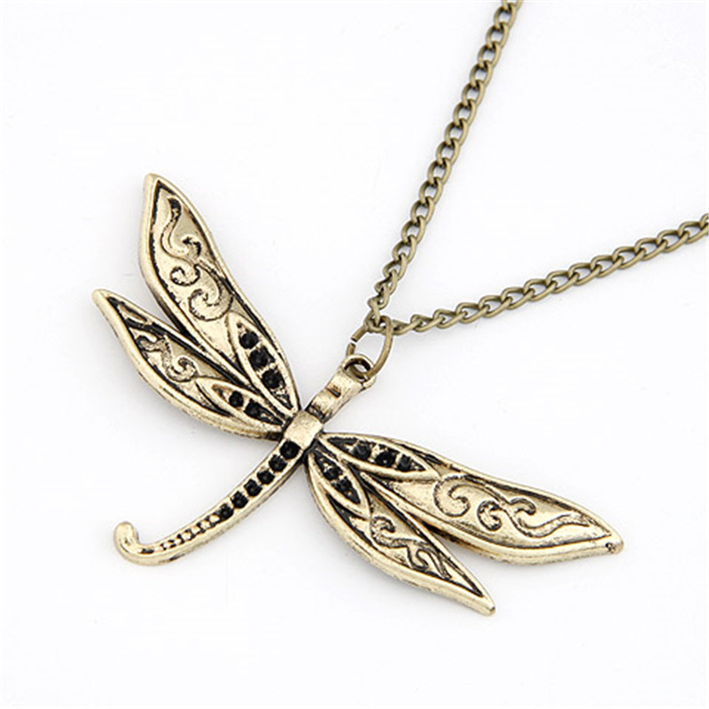 2015 Free Shipping Korean Fashion Retro DRAGON FLY Long Pendant Necklace For Women Sweater Chain fashion jewelry(China (Mainland))
