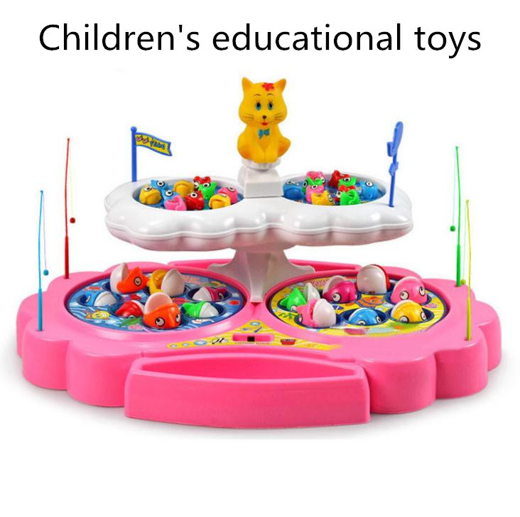 Free shipping!Baby educational toys,Two layer Battery Operated fishing toys,360 degrees rotation,parent-child interactive toys <br><br>Aliexpress
