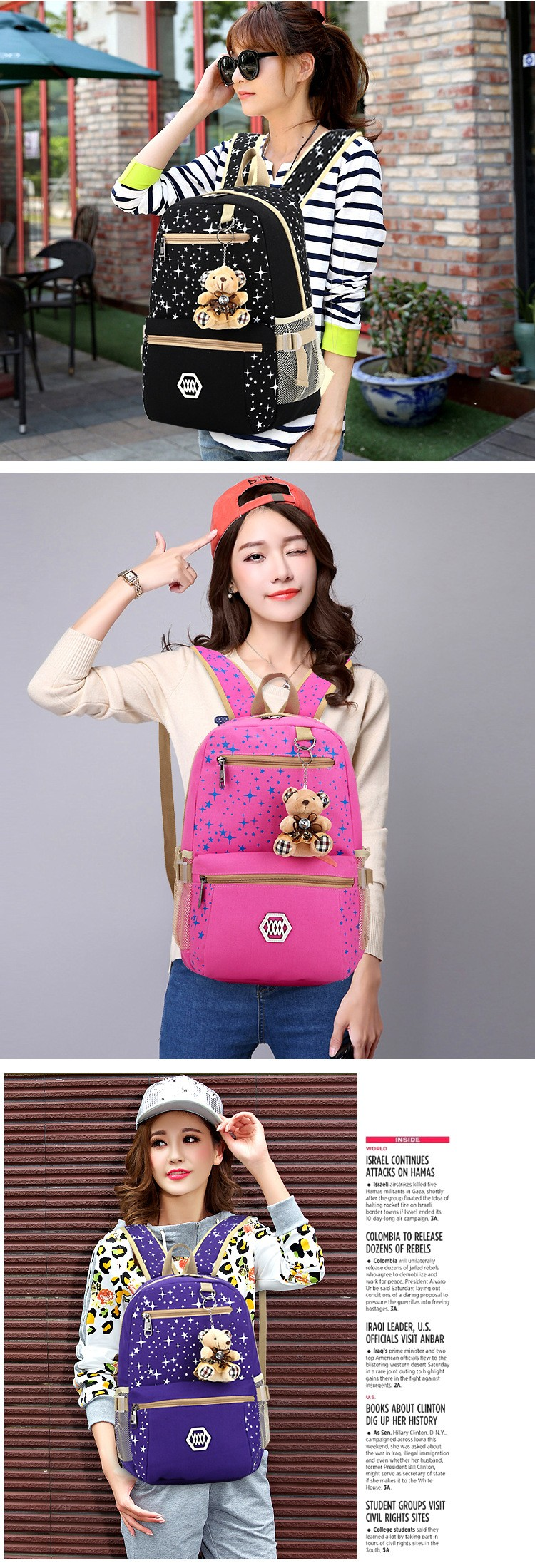 FREE SHIPPING Women Backpack With Bear high quality School Bags For Preppy Girls Cute Backpacks For teenagers Back Pack