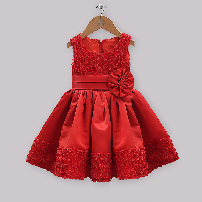 Retail girls party dress baby new year lace flower rose girl princess bow satin sleeveless fairy ADS021 - kids clothes on line store