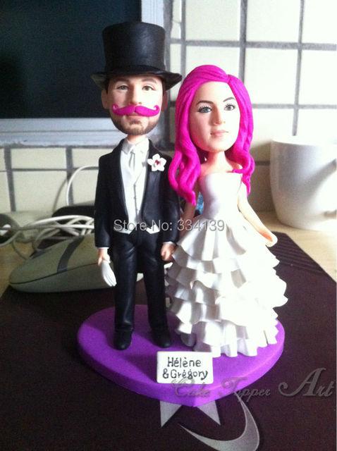 personnalisé photo 3d drôle poupées gâteau de mariage