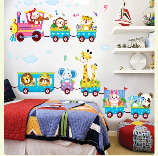 New large animals on car wall stickers decals kids removal for Removing vinyl wallpaper