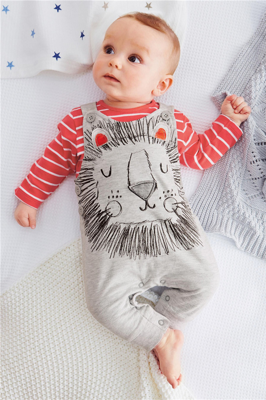 2015 Spring models cute lion baby boy 2pcs cltohing set little bebe striped t-shirt+ romper(China (Mainland))