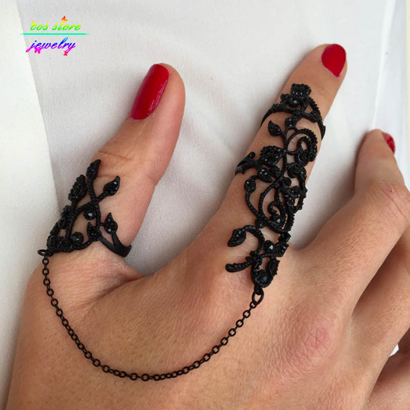 2016 New Hot Selling Black Plated Lace Design Crafted with Rhinestones Slave Full Finger Ring Knuckle Rings For Women Index Ring(China (Mainland))