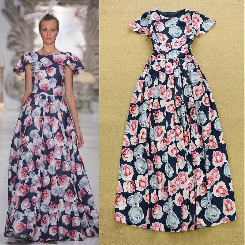 Fashion 2015 Short Ruffle Sleeve Fancy Rose Flower Printed Maxi Long Dress Runway Trends Cute Formal Full - Fashion_ComeToYou store