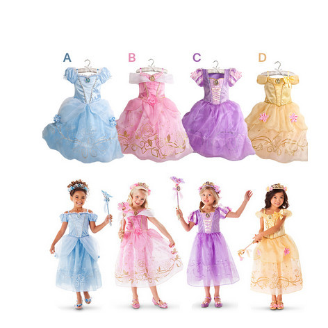 2015 New Girls Cinderella Dresses Children Snow White Princess Rapunzel Aurora Kids Party Costume Clothes - daisie's baby clothes store
