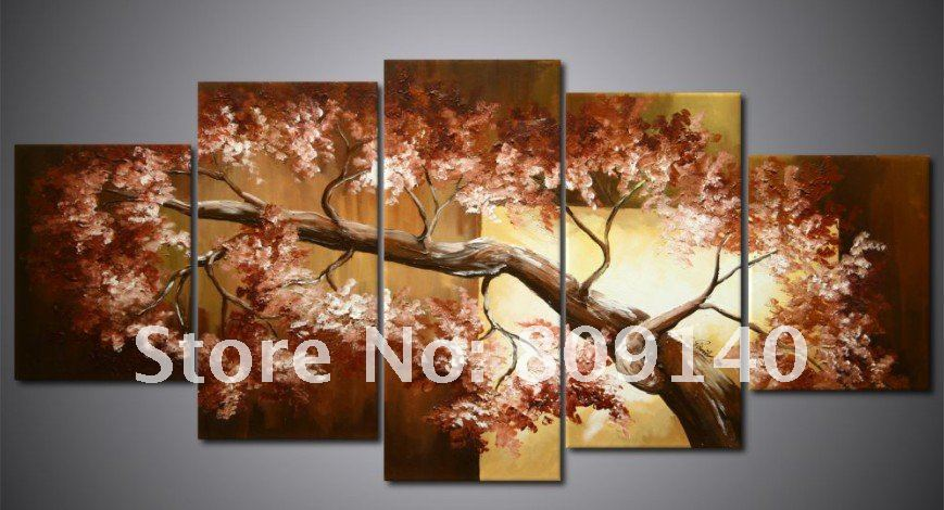Oil painting canvas brown tree landscape high quality handmade modern home decoration wall art Home decor wall art contemporary