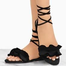Femmes chaussures sandales femmes couleur unie volants bout rond talon plat croix attaché sandales Rome chaussures sandales d'été livraison directe(China)