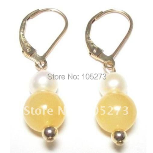 New Arrive Chirstmas Jewelry ! Stunning Genuine White Pearl &amp; Yellow Jade 14K Lever Back Earrings Fashion Party Wedding Earrings<br><br>Aliexpress
