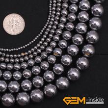 "Buy Hematite:Round Silver Smooth Hematite Beads Strand 15"" Natural Hematite Stone Beads DIY Beads Bracelet Making Free Store) for $3.02 in AliExpress store"