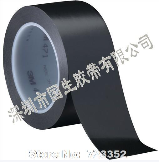 3M 471 black ground marking tape warning tape safe plastic color emulsion 33M width is arbitrary(China (Mainland))