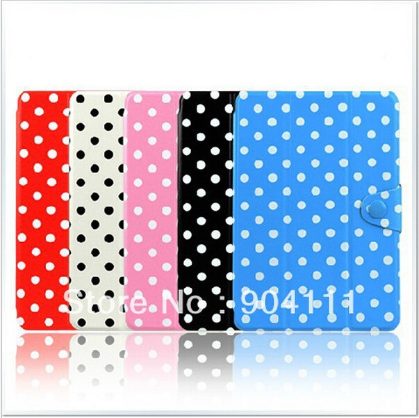 Ipad mini Fashion Polka dot leather case smart cover Tablet Case+Stylus Protective Shell Skin - Best Phone/Tablet accessories store