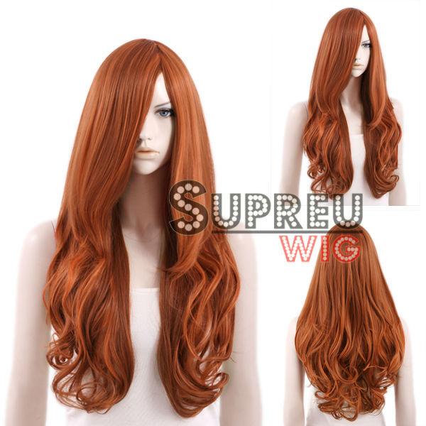 "22"" Heat Resistant Long Curly Auburn Brown Fashion Stylish Hair Wig SS178(China (Mainland))"