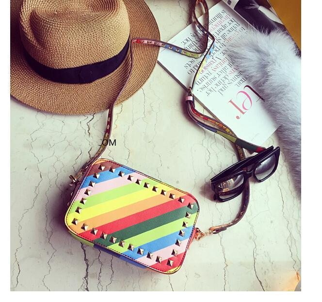 2015 Hot Newest Women Rainbow Rivets Mini Shoulder Bags Fashion Lady