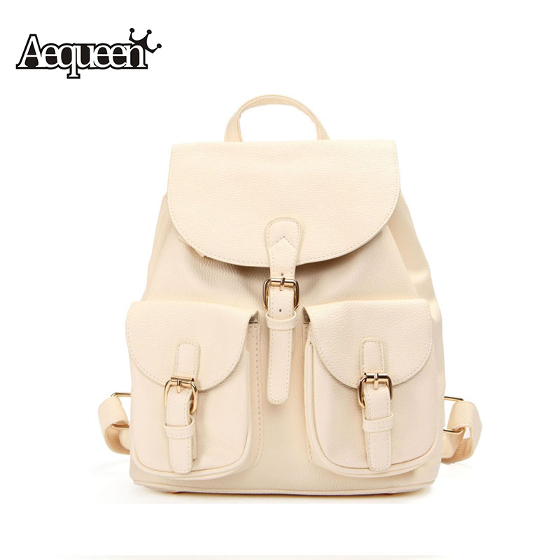Women Backpack Leather Candy Color Rucksack College Schoolbag Preppy Style Shoulder Bags Solid Large Capacity Girls Travel Pack(China (Mainland))