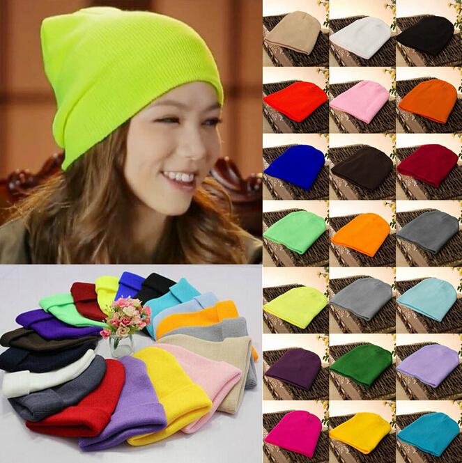 product FD1418 Plain Beanie Knit Ski Cap Skull Hat Warm Solid Warm Cuff Blank Beany x1