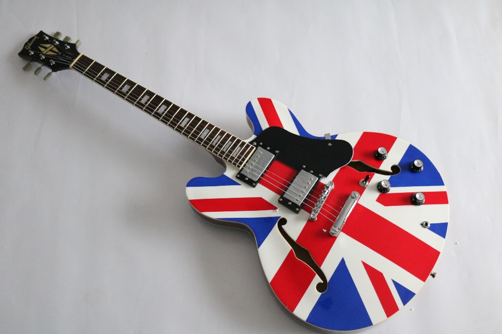 Best price custom shop ES335 union jack design electric guitar Freeshipping is worried(China (Mainland))