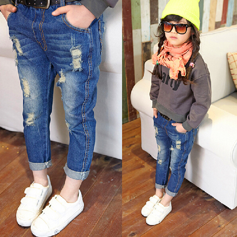 2016 Summer Fashion Jeans Girls Pants For Baby Kids Ripped ...