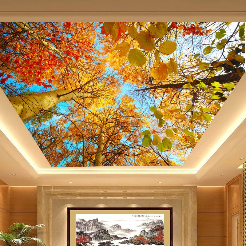 Photo mural autumn leaves large natural ceiling murals for Ceiling mural wallpaper