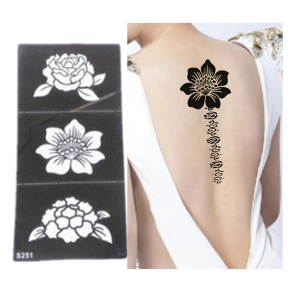 5pcs Tattoo Stencil Flower Tattoo Templates Hands/Feet Henna Tattoo Stencils For Airbrushing Professional New Body Painting