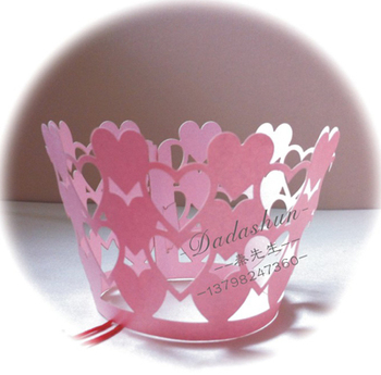 Newest! 120pcs/lot Pink Heart Laser Cut Pearl Paper Cupcake Wrapper Wedding Favors Decoration Accessories Free Shipping