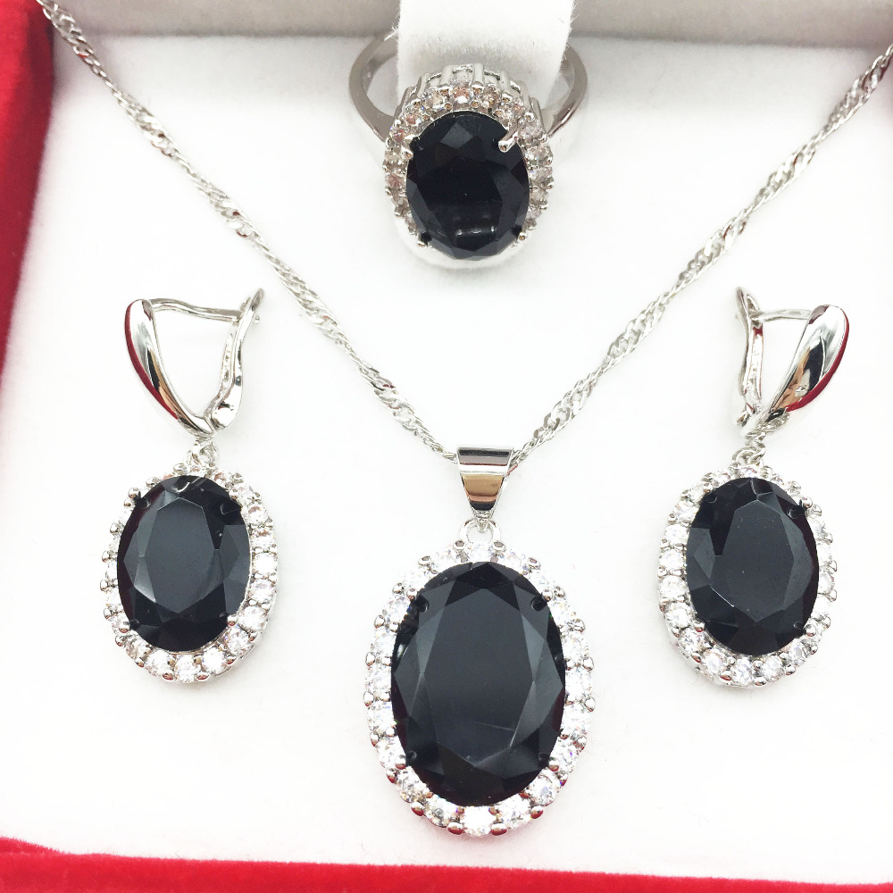 2016 New Black Garnet Crystal 925 Silver Jewelry Sets For Women Earrings/Necklace/Pendant Ring Size 6 7 8 9 Free shipping(China (Mainland))
