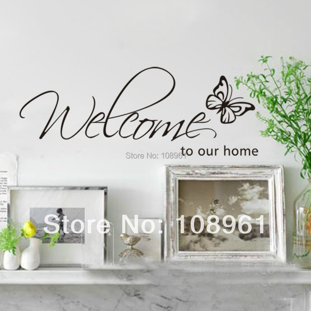 Hot selling welcome to our home and butterfly wall sticker for Our home decor