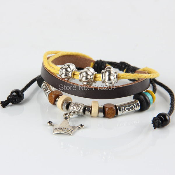 Free shipping!!!Cowhide Bracelet,Punk Style, with Wax Cord &amp; Wood &amp; Zinc Alloy, plated, adjustable &amp; 3-strand, 170-240mm<br><br>Aliexpress