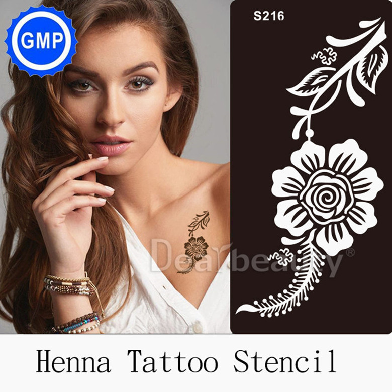 1piece Henna Indian Designs tattoo Stencils for Body Painting Glitter Reuseable Tattoo Kit Supplies 2015 new Templates S216
