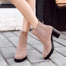 Donna-Ở Phụ Nữ Da Thật Chính Hãng Da Ủng Len Tự Nhiên Lông Đế Trong Mùa Đông Boot Giày Đế Giày Cao Gót Chelsea Mắt Cá Chân giày(China)