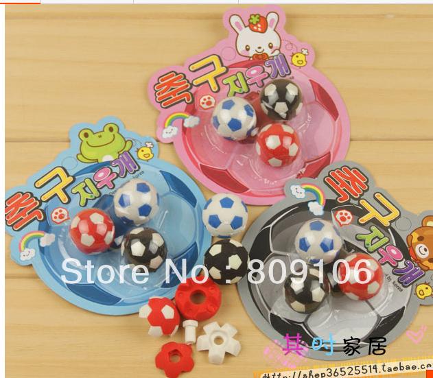 Wholesale ,free shipping, 10 sets cartoon eraser football stationery Student Prizes /gifts 35g/set 3 pcs/set(China (Mainland))