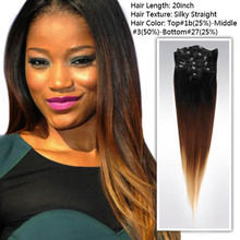 Free Shipping 20 inch three tone color Ombre hair extesnion Indian human remy hair clip in