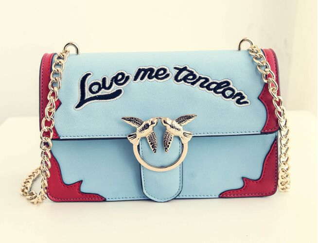 Letter embroidery hit color hasp lock chain bag, lock the bird hit color double side shoulder bag,lady flap crossbody cute bag(China (Mainland))