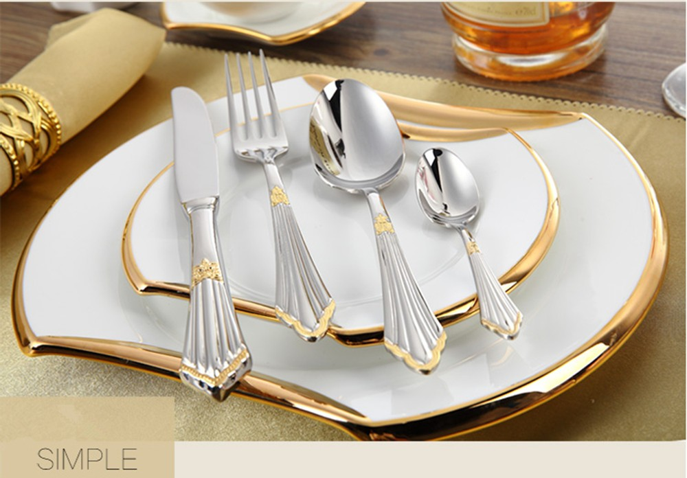 Buy The new silver tableware stainless steel tableware high - quality fork spoon tableware utensils cutlery sets cheap