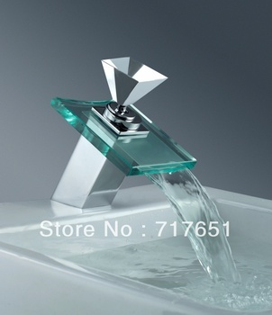 New 3 Colors Changing Bathroom LED Light Waterfall Glass Faucet