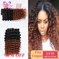 TOP ULTRA Deep Curly Malaysian Virgin Hair Ombre Hair Weaves T1B 30 Two Tone Certified Human