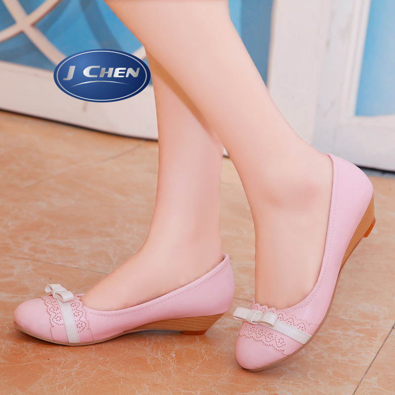 Free shipping 2016 spring/autumn hot sale wedges low heels woman shoes round toe big size 40 41 42 43 30 31 32  woman shoes
