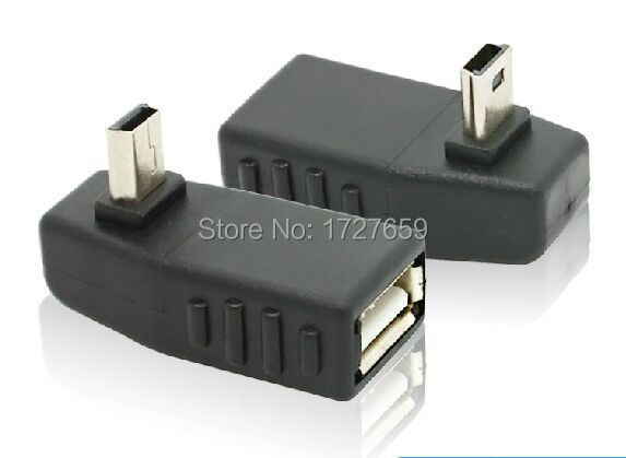 50pcs/lot High quality WHOLESALE 90 Degree upward Angled Mini USB Male to USB 2.0 AF Adapter(China (Mainland))
