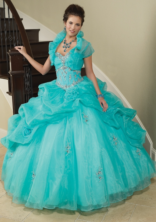 Beading Mint Green Quinceanera Dresses Ball Gowns Vestidos De Quinceaneras 2015 Pleat Organza 16 Birthday Party - one dress shop store