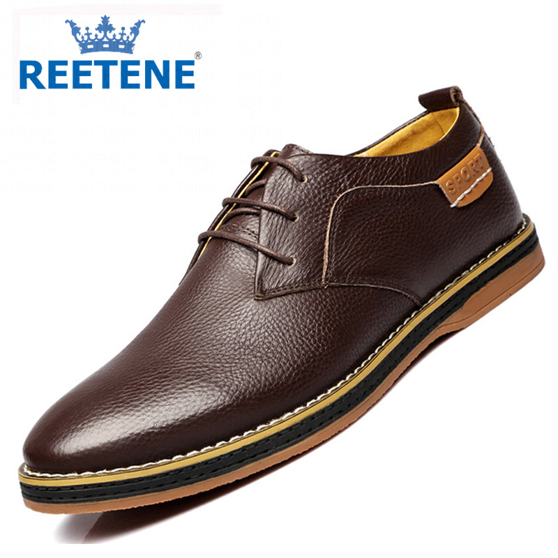 Genuine Leather Pointed Toe Flats Fashion Casual Shoes Men Print Lace Oxford Dress Chaussures - REETENE store